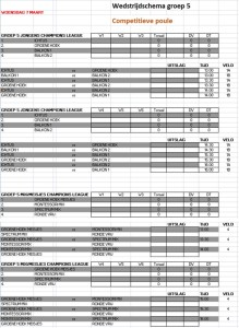 Speelschema groep 5 competitieve poule